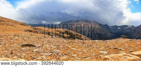 Scenic ridge at Rocky mountain national park in Colorado along Trail ridge parkway.