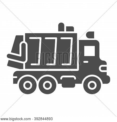Garbage Truck Solid Icon, Heavy Equipment Concept, Garbage Machinery Sign On White Background, Recyc