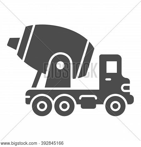 Concrete Mixing Truck Solid Icon, Heavy Equipment Concept, Construction Machine Sign On White Backgr