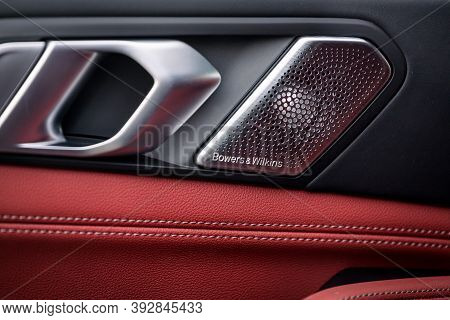Novosibirsk, Russia - October 20, 2020:  Bmw X5 M, Close-up Of A Music Column Bowers And   Wilkins