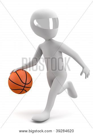 3D Man Running With A Basketball Ball. 3D Image. On A White Background
