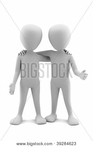 3D Small People Friends. 3D Image. On A White Background