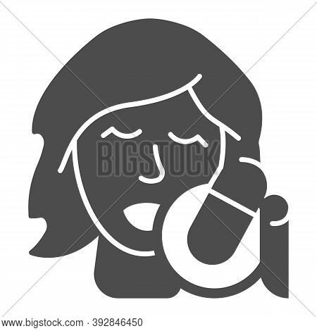 Singing Vocalist With Studio Microphone Solid Icon, Sound Design Concept, Woman With Microphone Sign