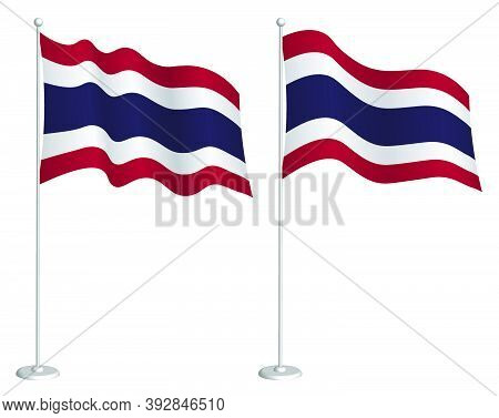 Flag Of Kingdom Of Thailand On Flagpole Waving In Wind. Holiday Design Element. Checkpoint For Map S