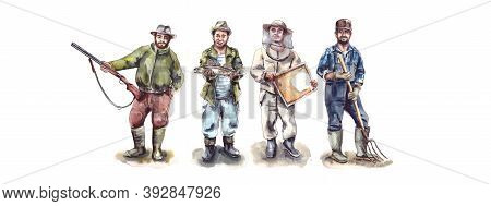 Watercolor Illustration.mens Hobbies And Hobbies, Active Recreation.figure Of A Man In A Hat.charact