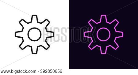 Outline Gear Icon. Linear Settings Sign, Gearwheel With Editable Stroke. Cogwheel, Adjustment Tool,