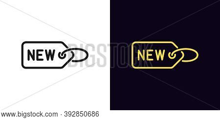 Outline Label New. Linear Tag Sign With Text New, Newest Collection Badge With Editable Stroke. New