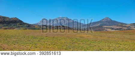 Panoramic view of High lands in San Juan mountains of Colorado, along Last Dollar road.
