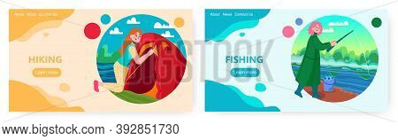 Woman Set Up Tent. Girl Fishing In A River. Outdoor Travel And Camping Vector Concept Illustration.