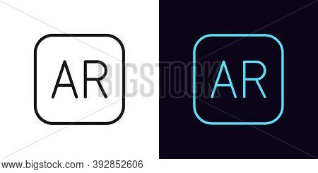 Outline Ar Icon. Linear Ar Sign With Editable Stroke, Technology Of Augmented Reality. Vector Icon,
