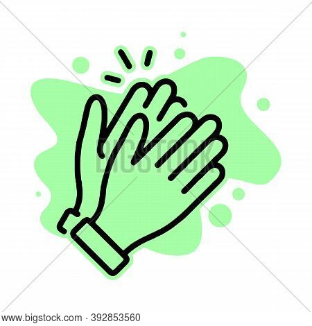 Clapping Hand Icon. Applause Clap. Celebration Hand Gesture. Audience Slam Icon. Cheers Slap Sign. C