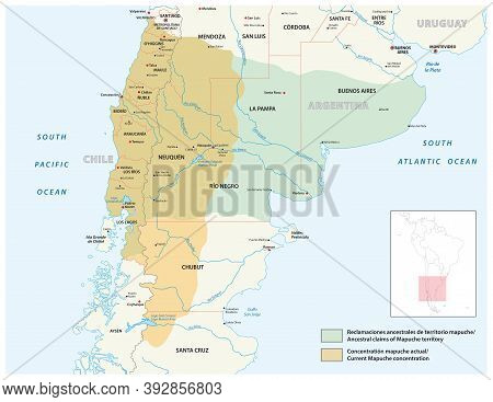 Vector Map Settlement Area Of The Indigenous People Of The Mapuche In Chile And Argentina