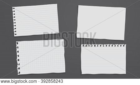 Set Of Torn Of White Blank And Line Note, Notebook Paper Are On Black Background For Text, Advertisi