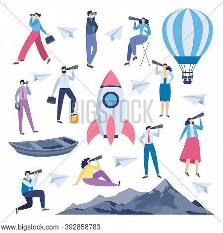 Business People Using Spyglass, Telescope And Binoculars