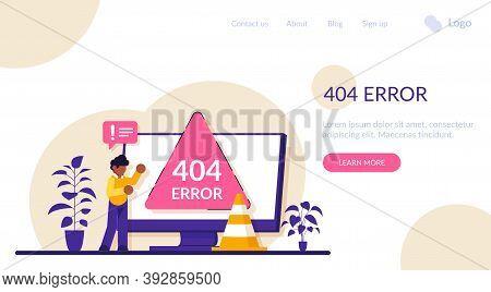 404 Error Page Concept. Website Page Interface. Ui, Landing Page, Web Design. Modern Flat Illustrati