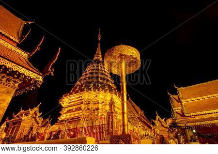 Wat Phra That Doi Suthep. Buddhist Temple In Chiang Mai, Thailand. Tourist Travel Destinations In Th