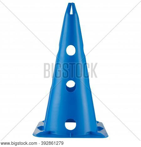 Tall Blue Sports Cone, Stands On A White Background
