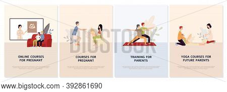 Prenatal Courses For Pregnant Set Of Web Or App Banners Vector Illustrations.