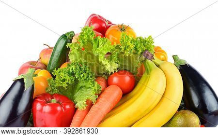 Multi-colored fruits and vegetables isolated on white background.