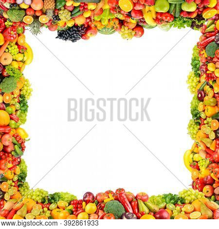 Square composition useful vegetables and fruits isolated on white background.