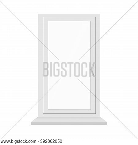 Uni-part Plastic Window Frame With Sill Realistic Vector Illustration Isolated.