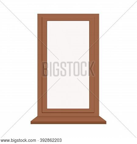 Plastic Or Wooden Brown Window With Sill A Vector Realistic Illustration