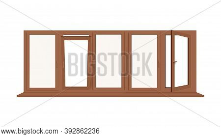 Large Glass Brown Window With Blank Sill A Vector Realistic Illustration
