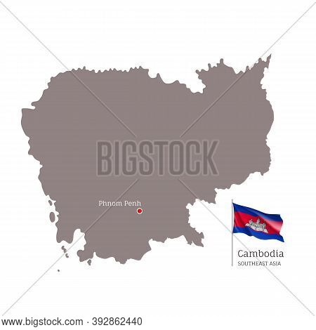 Silhouette Of Cambodia Country Map. Highly Detailed Gray Map And National Flag And Phnom Penh Capita