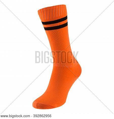 Voluminous Orange Soccer Leggings Or Socks With A Black Stripe, On A White Background