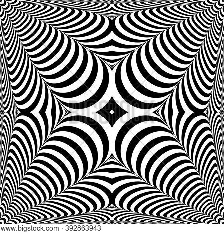 Op art pattern. 3D illusion. Abstract design.