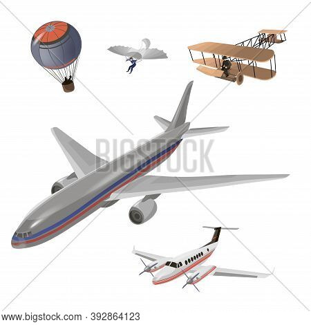 Airplanes Vector Image Design Set. Balloon, Hang Glider, Old Airplane Model, Private Jet, Passenger