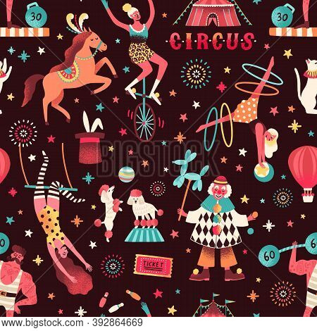 Seamless Pattern With Different Circus Artists And Trained Animals. Flat Vector Cartoon Illustration