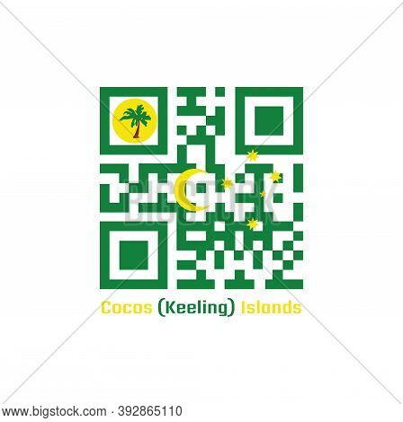 Qr Code Set The Color Of Cocos (keeling) Islands Flag. Green With A Palm Tree On A Gold Disc, A Gold