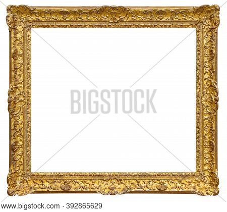 Old Gilded Wooden Frame Isolated On The White Background