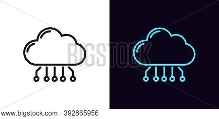 Outline Cloud Hosting Icon. Linear Cloud Service Sign With Editable Stroke, Online Datacenter. Saas