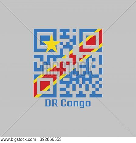 Qr Code Set The Color Of Dr Congo Flag, Sky Blue Flag, Adorned With A Yellow Star In The Upper Left