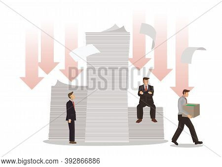 Businessmen With Piles Of Debt. Concept Of Debts, Bankruptcy Or Corporate Restructuring. Flat Vector