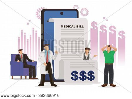 Concept Of High Medical And Health Care Prices Under The Corporate Culture. Patient Worried With Exp