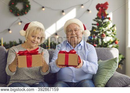 Happy Grandma And Grandma In Santa Hats Sitting On Sofa Holding Christmas Presents For Grandkids
