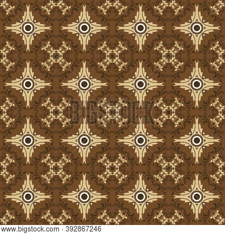 Cute Flower Motifs On Parang Batik With Blend Yellow And Brown Color Design.