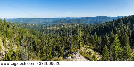 Panoramic view of Tahoe National forest and Sierra Nevada mountains on the route 80 from California to Nevada, USA