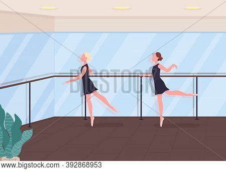 Ballet Lesson Flat Color Vector Illustration. Dancers Rehearsing. Girl Train Choreography. Practice