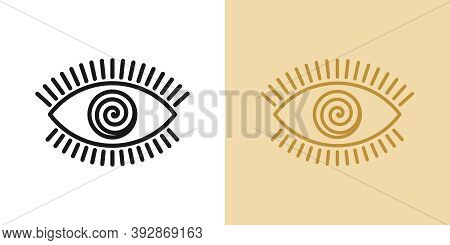 Outline Hypnotic Eye Icon With Editable Stroke. Linear Eye Sign With Spiral Iris, Mesmeric Vision. M