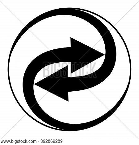 Swirling Arrows Integration Sign, Vector Arrows Spin In Circle Icon Integration Symbol