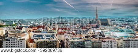 Picturesque View Panorama Of Vienna City, Jet Trail In The Blue Cloudy Bright Sky, Sunny Warm Day Du