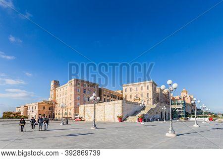Cagliari, Sardinia Island, Italy - December 12, 2019: Bastion Saint Remy And The Panoramic Terrace U