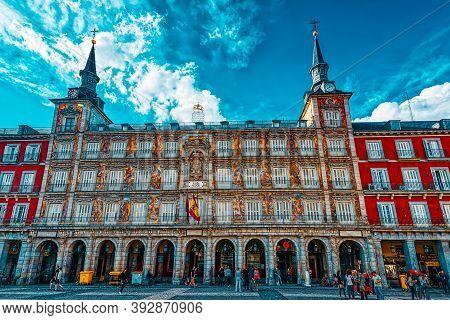 Tourists On Plaza Mayor. Plaza Mayor - One Of Central Squares Of