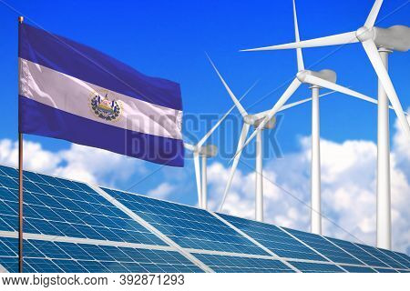El Salvador Solar And Wind Energy, Renewable Energy Concept With Windmills - Renewable Energy Agains