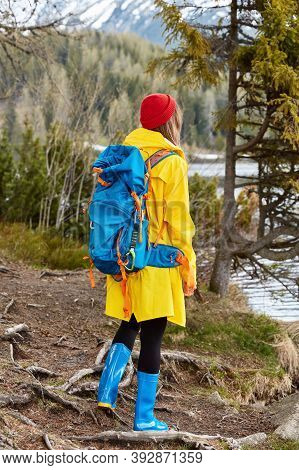 Hiking Woman With Rucksack Stands By Lake, Enjoys View In Nature, Wears Yellow Raincoat And Rubber B
