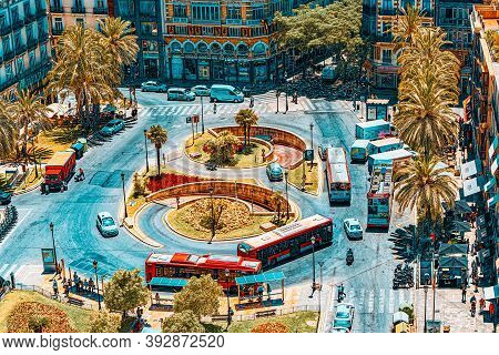 View Above On Square, Plaza Of The Queen  (placa De La Reina) In